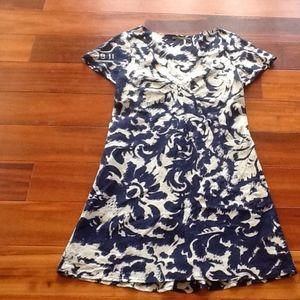 VELVET Silk & Cotton Blue & Gray Dress Sz M